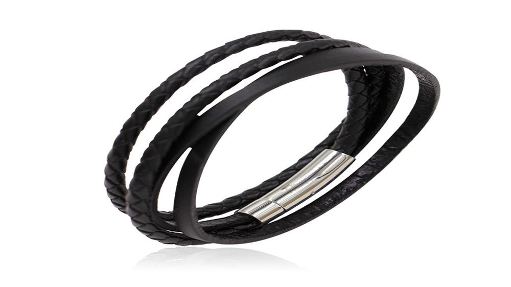 Simple style black braided leather men bracelet
