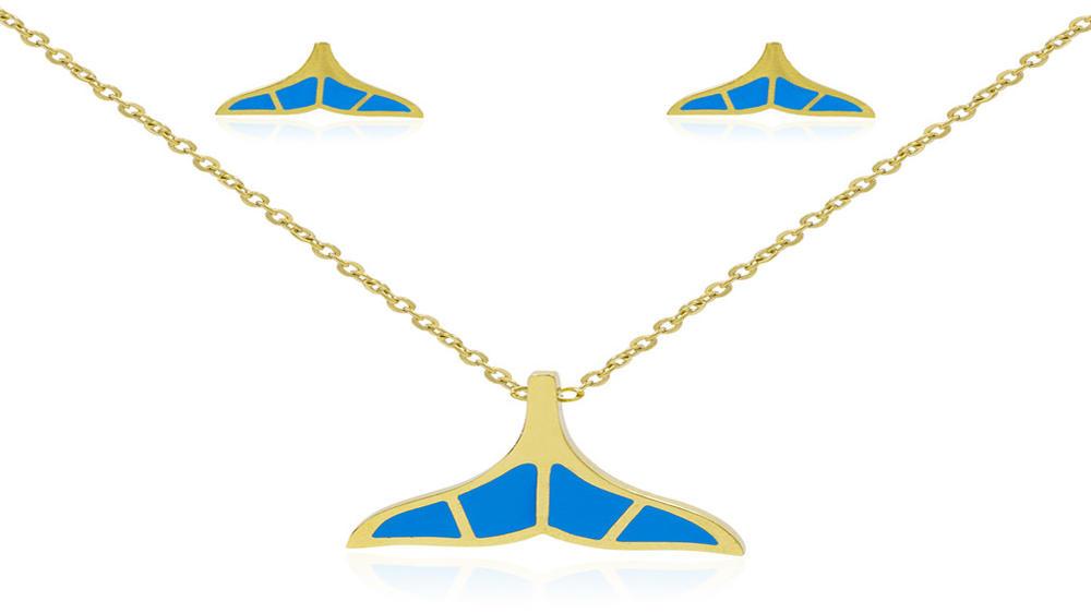 18k gold plated women blue fishtail pendant jewelry set