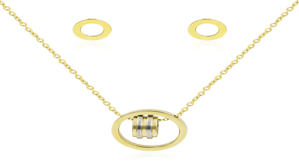 Simple circle pendant women gold plated jewelry set
