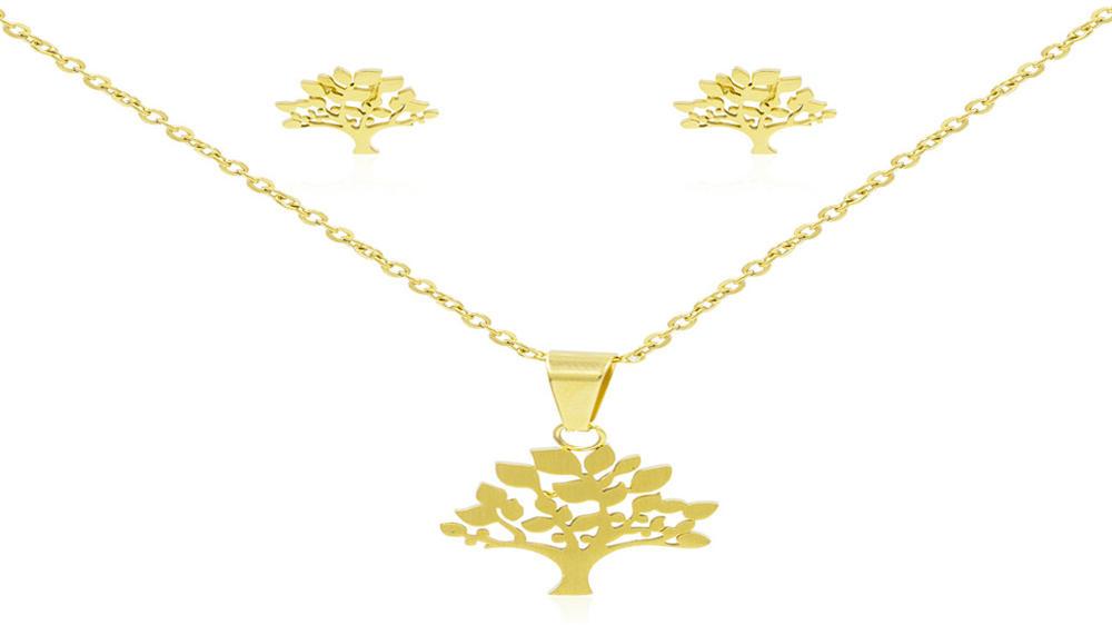 Popular 24k gold tree of life women jewelry set