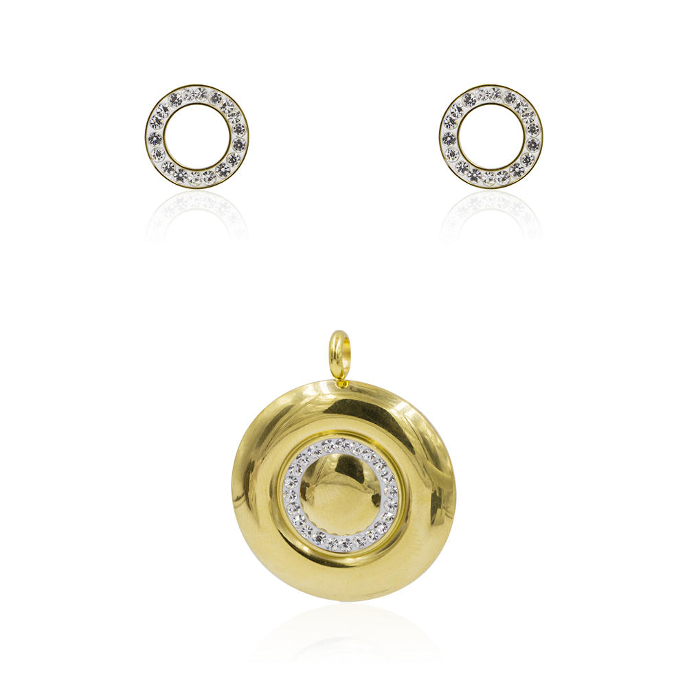 Stainless steel women charm fashion gold earrings and pendant jewelry set - AW00357ahlv-627