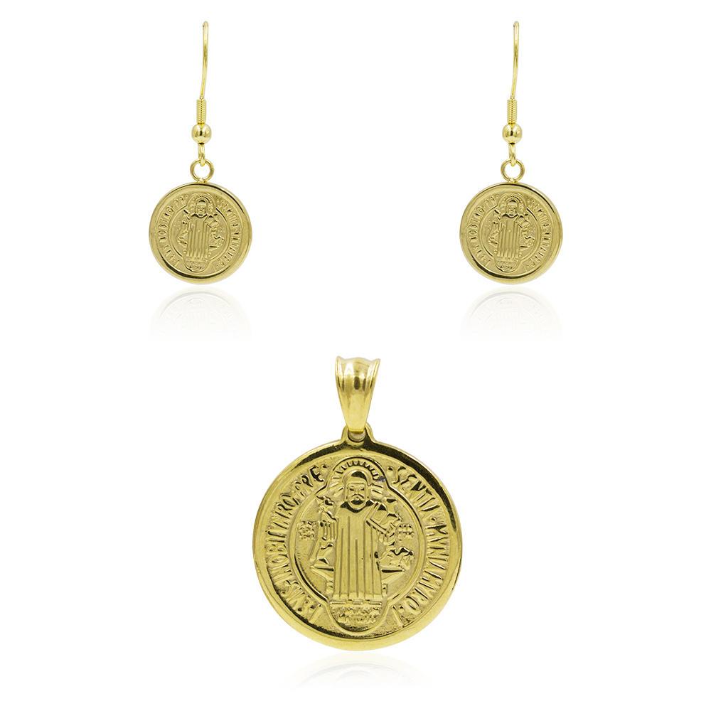 Stainless steel gold dubai women earrings & pendant jewelry set - AW00358bhva-627