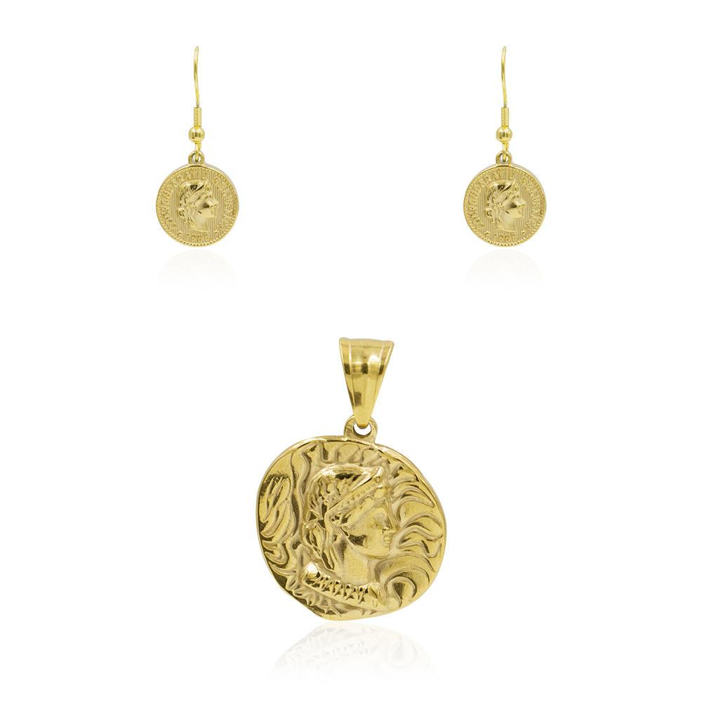 Custom dubai gold stainless steel jewelry set for women - AW00359bhva-627