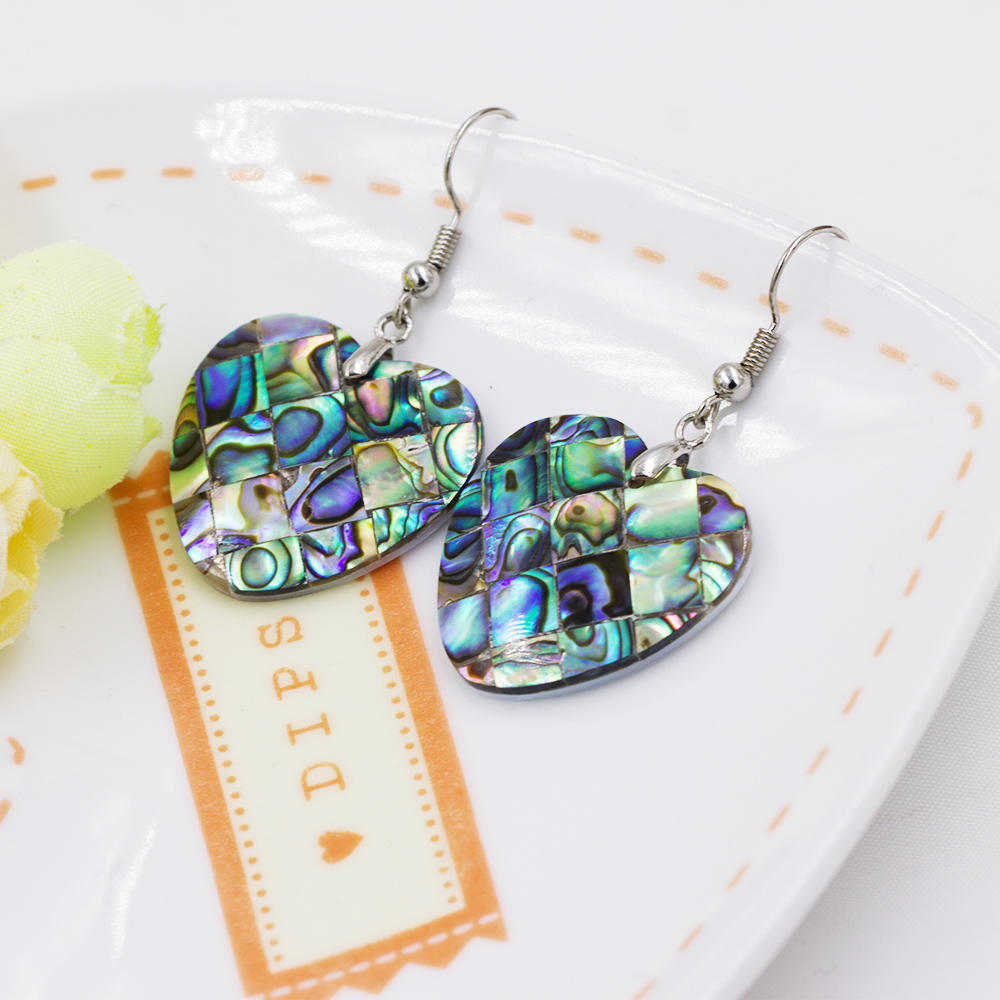 Stainless steel heart pendant drop dangle earrings shell for women - AW00360vhha-627