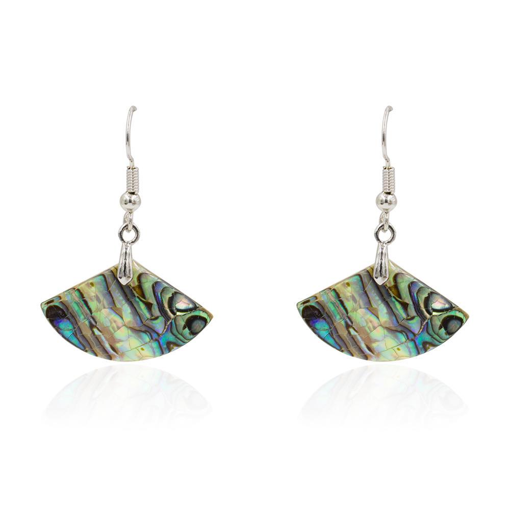 Fashion design women fan dangle earrings shell in stainless steel - AW00361vhha-627