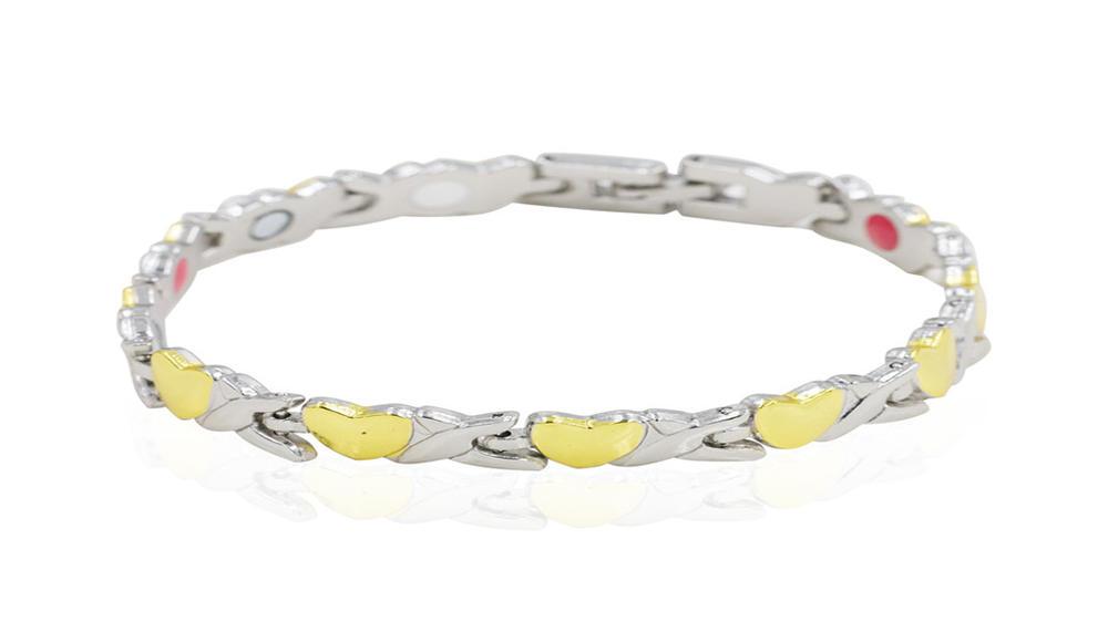 Luxury bracelet magnet gold heart and silver color men bracelet