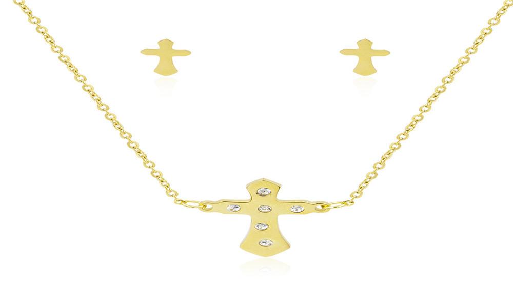 Wholesale women cross crystal golden jewelry set