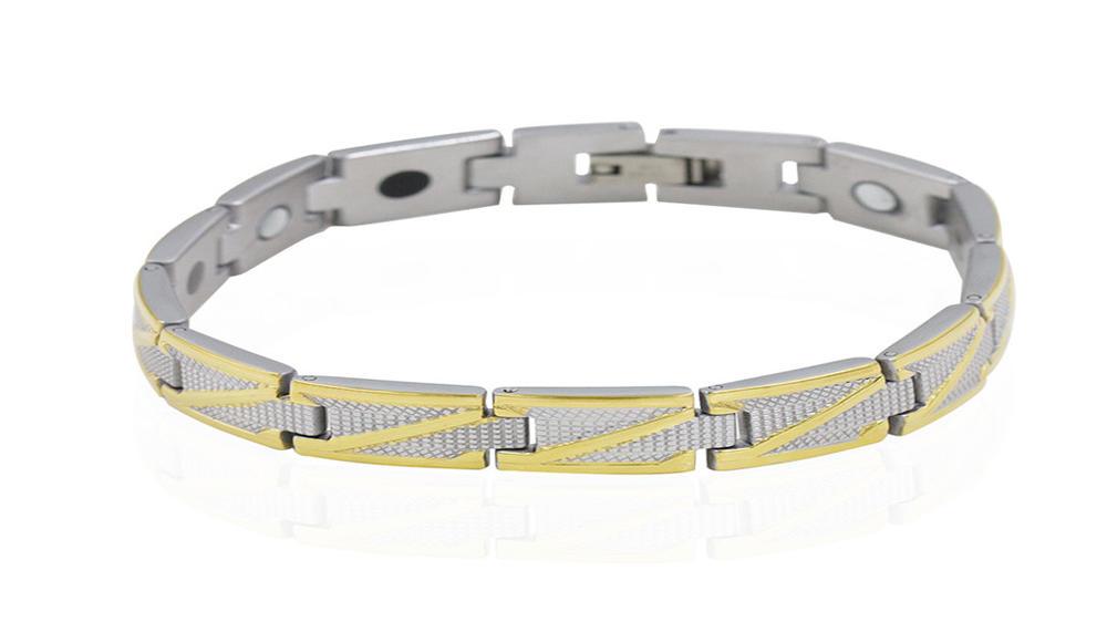 Simple men gold and silver color magnetic energy bracelet bracelet
