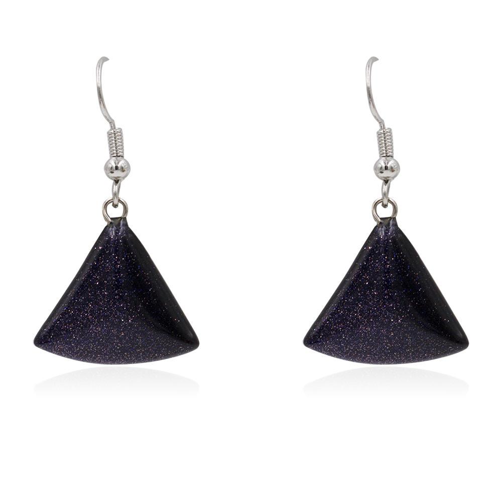 Fashion fancy women dangle earrings with black stone pendant - AW00365bhva-627