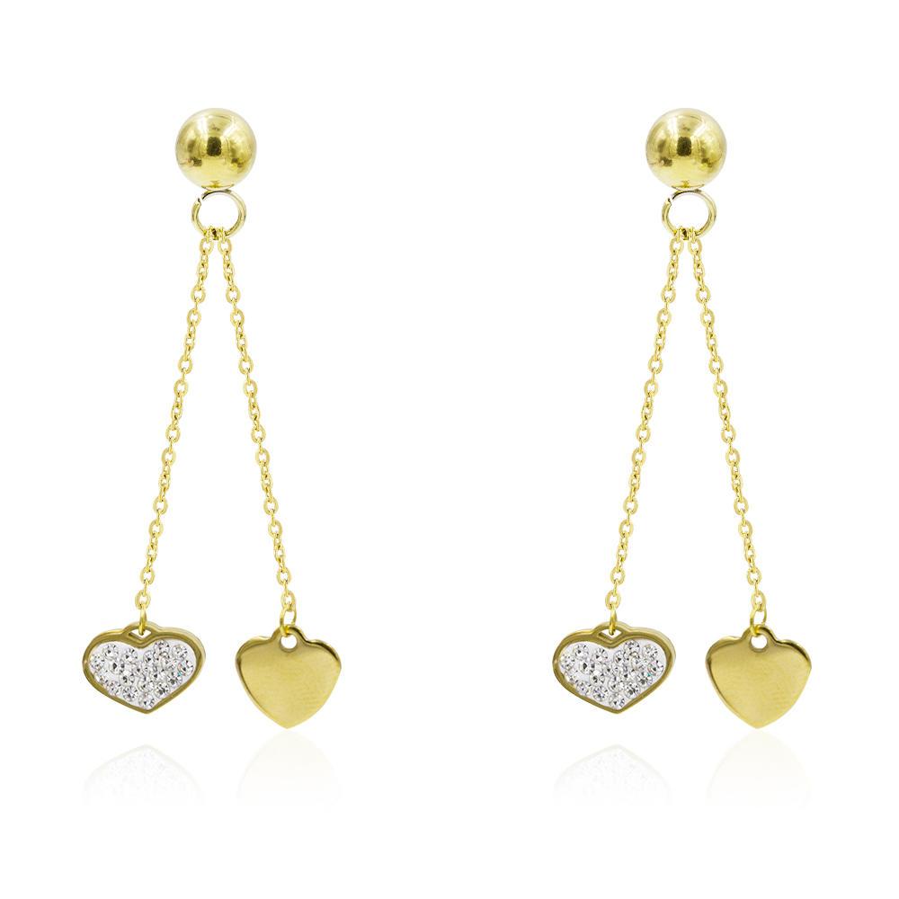 Customized women heart dubai gold earrings with long pendant-AW00369bbov-627