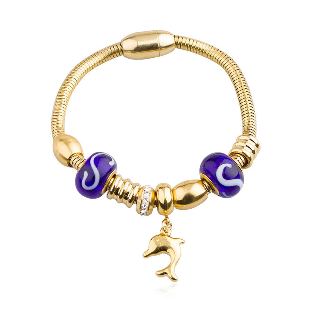 Stainless steel agate stone bead charm bracelet for women - AW00430vhkb-450