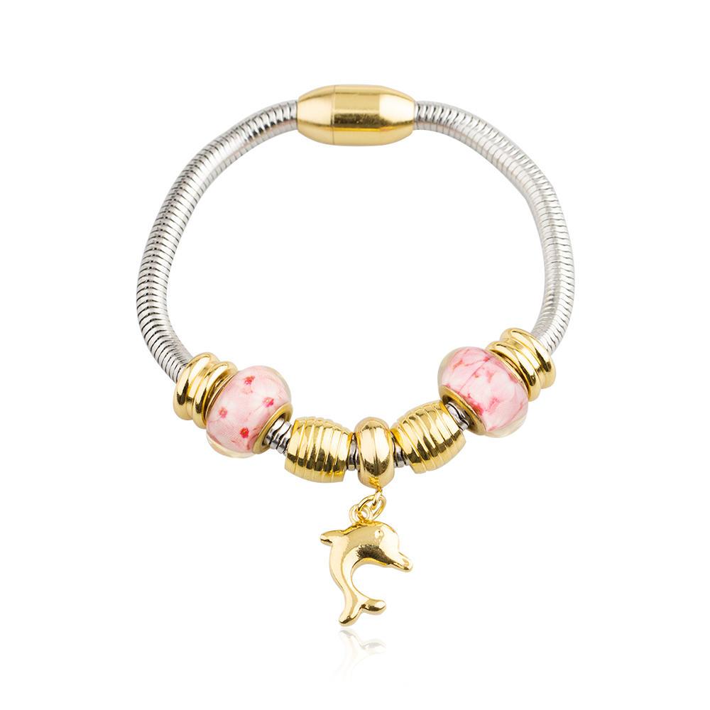 Stainless steel lovely stone bead bracelet for fashion women -AW00431vhkb-450
