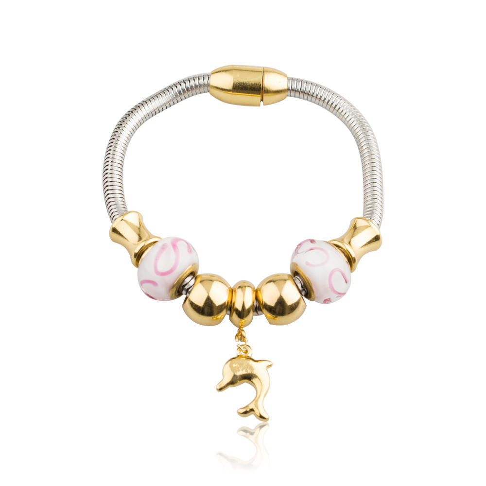 Charm stainless steel bead agate bracelet with little dolphin pendant- AW00432vhkb-450