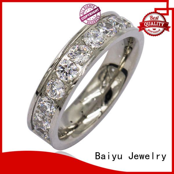 Baiyu Jewelry plain design stainless steel rings colorful for engagement