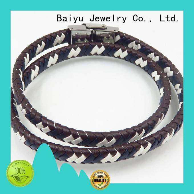 Baiyu Jewelry popular mens leather bangle high quality for girls