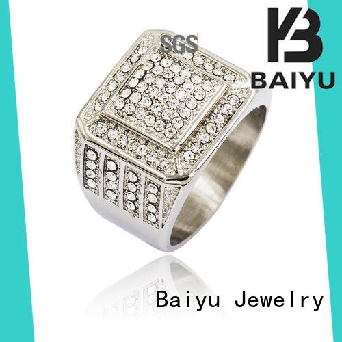 Baiyu Jewelry plain design stainless steel rings fire for wedding