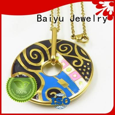 enamel heart necklace gold plated for ladies Baiyu Jewelry