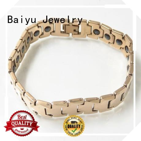 Baiyu Jewelry black tungsten carbide men's link bracelet for women