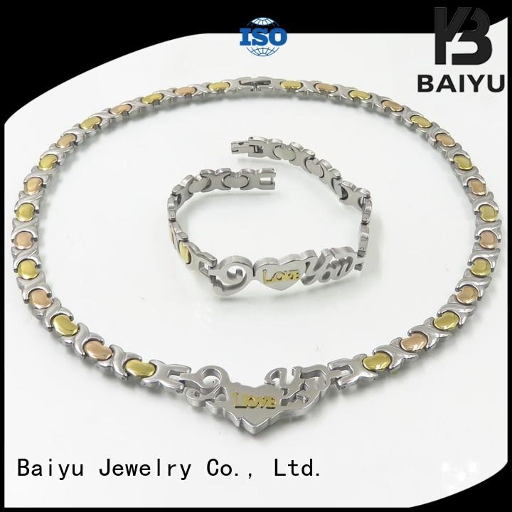 Baiyu Jewelry rose gold necklace bracelet set big for women