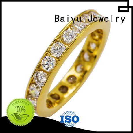 Baiyu Jewelry zircon mens stainless steel rings cute for wedding