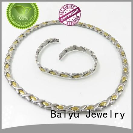 Baiyu Jewelry plated ladies necklace and bracelet sets fresh water pearl for female