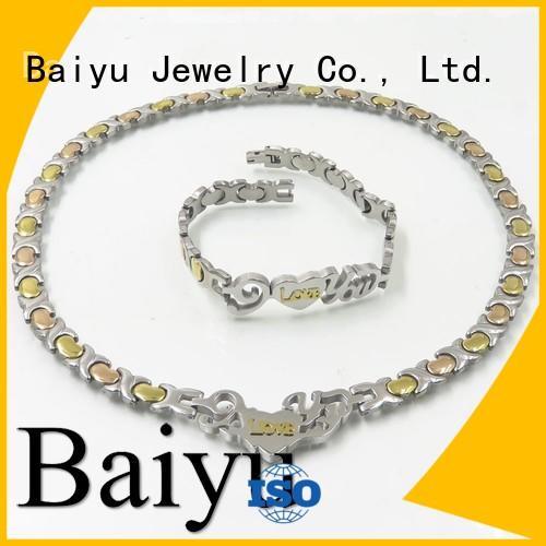 Baiyu Jewelry Brand cuban byzantine stainless steel necklace and bracelet set steel supplier