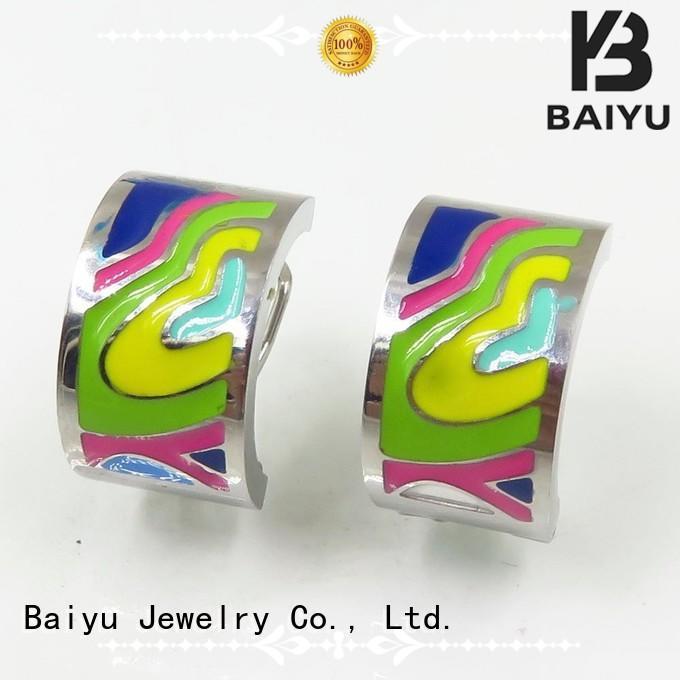 Quality Baiyu Jewelry Brand steel stud earrings silver price