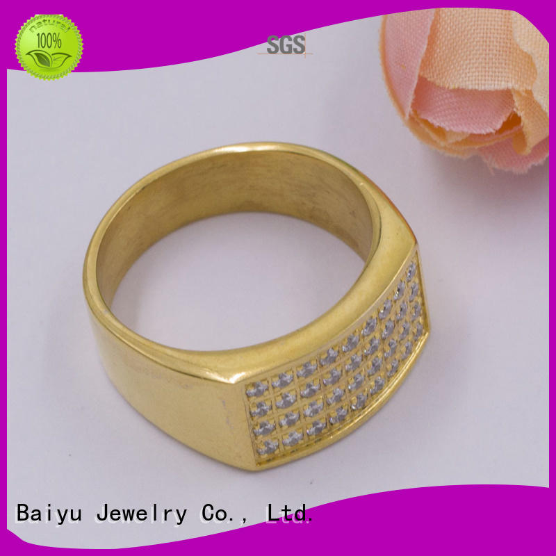 Baiyu Jewelry mens stainless steel rings fresh water pearl for gift