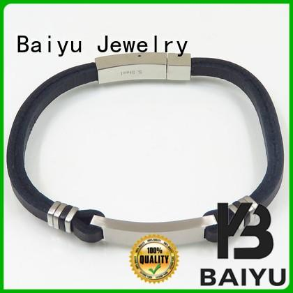 Baiyu Jewelry mens leather bangle top brand for girls