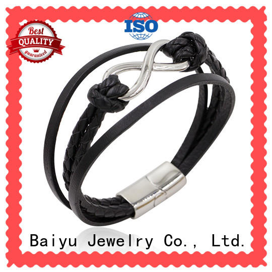 Baiyu Jewelry mens leather bangle top brand for wholesale