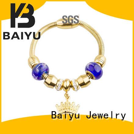Baiyu Jewelry stainless steel charm bracelets bulk production for lady
