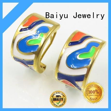 mens stud earrings black stainless steel arabic for mother Baiyu Jewelry