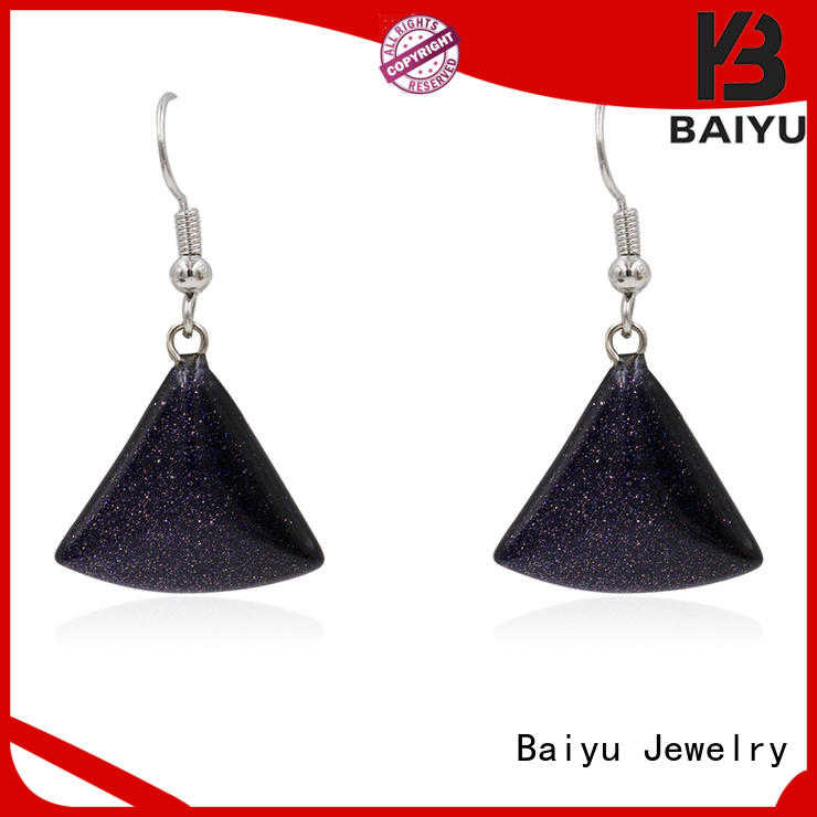 Baiyu Jewelry designs rhinestone dangle earrings plated with diamond