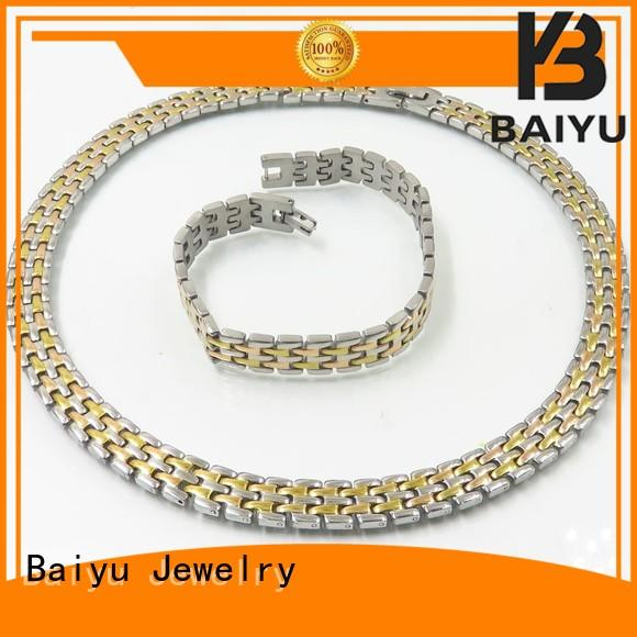 stainless steel necklace and bracelet set link necklace curb Baiyu Jewelry Brand