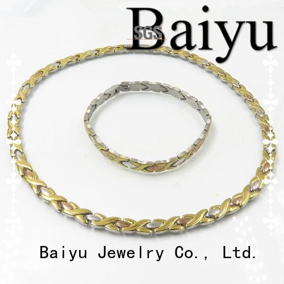 Baiyu Jewelry Brand chain fashion shop custom stainless steel necklace and bracelet set