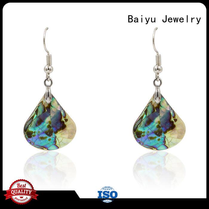 Baiyu Jewelry triangle shaped dangle earrings colorful for bridal