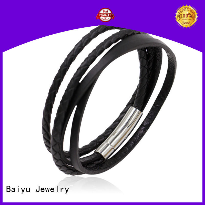 Baiyu Jewelry hot-sale leather bangle bracelets top brand for gift