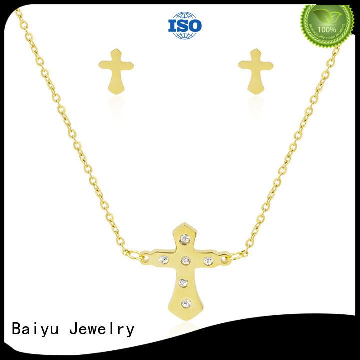 Baiyu Jewelry costume silver jewellery set cz for anniversary