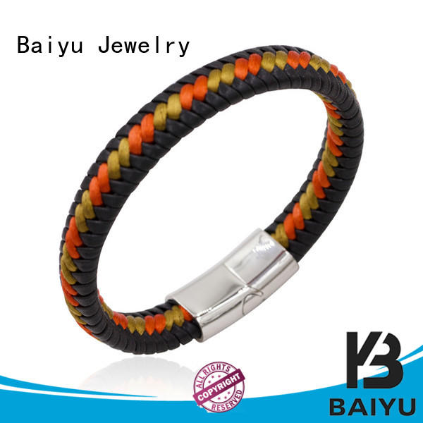 Baiyu Jewelry mens leather bangle designs for gift