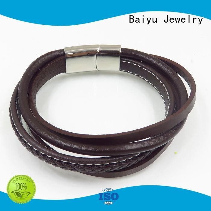 Baiyu Jewelry high-end leather bangle bracelets for wholesale