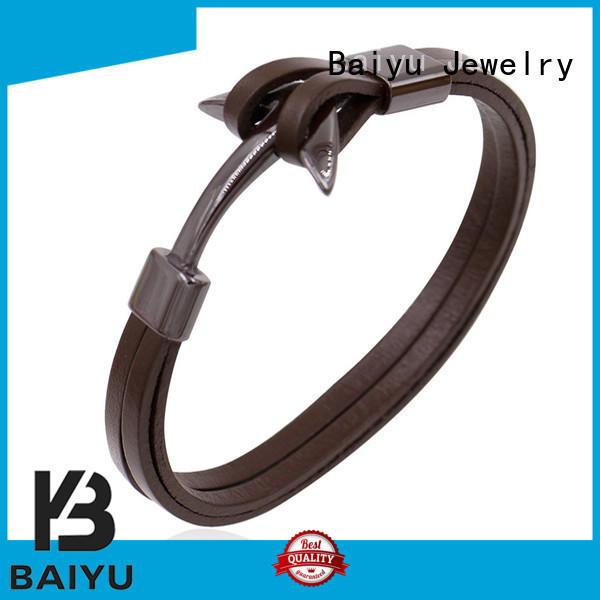 mens leather bangle white for wholesale Baiyu Jewelry