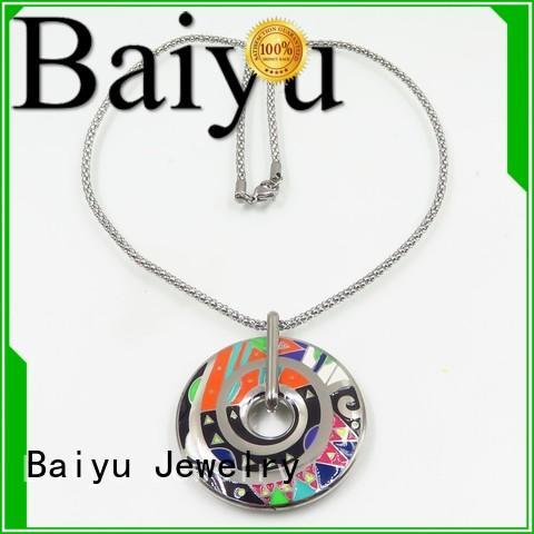 blue enamel necklace gold process heart Warranty Baiyu Jewelry