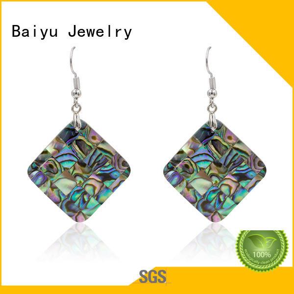 Baiyu Jewelry color rhinestone dangle earrings triangle shaped for ladies
