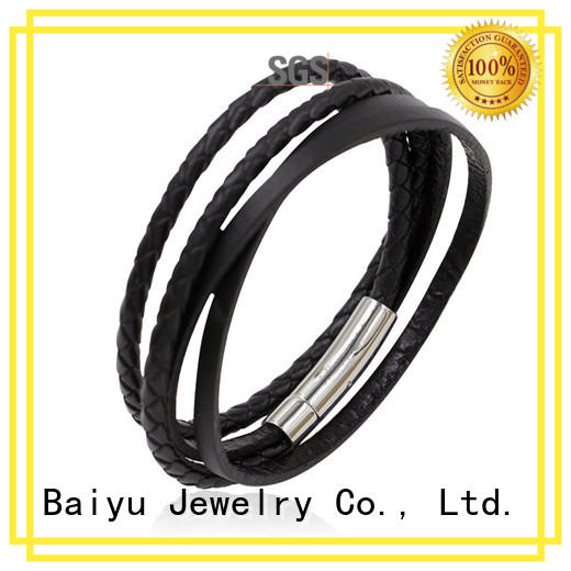compass mens leather bangle top brand for gift Baiyu Jewelry