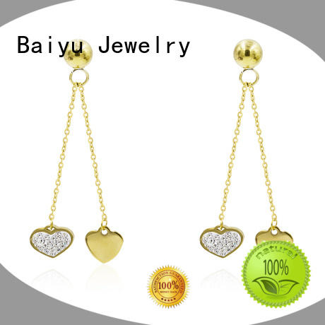 Baiyu Jewelry color rhinestone dangle earrings with flower for girl