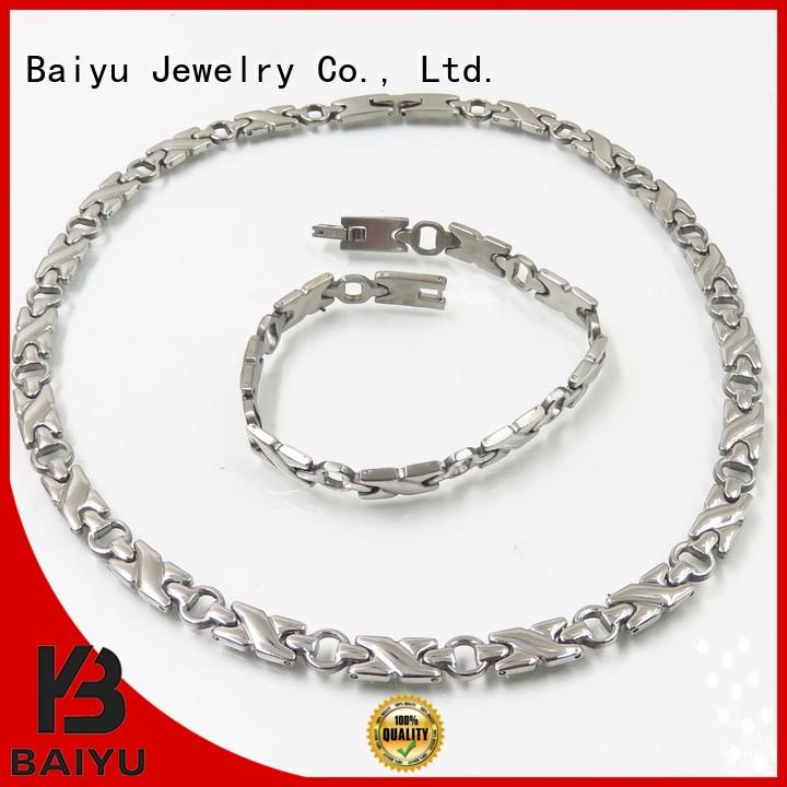 Baiyu Jewelry rose gold ladies necklace and bracelet sets for christmas