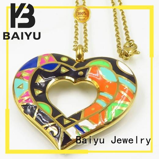 Baiyu Jewelry top quality gold enamel necklace colorful for ladies