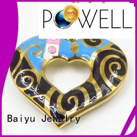 steel charm pendant Baiyu Jewelry Brand blue enamel necklace manufacture