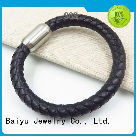Baiyu Jewelry mens leather bangle on-sale for gift