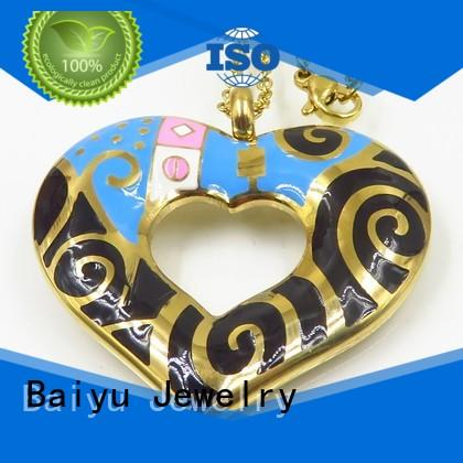 Baiyu Jewelry gold plated enamel gold necklace simple clover for ladies